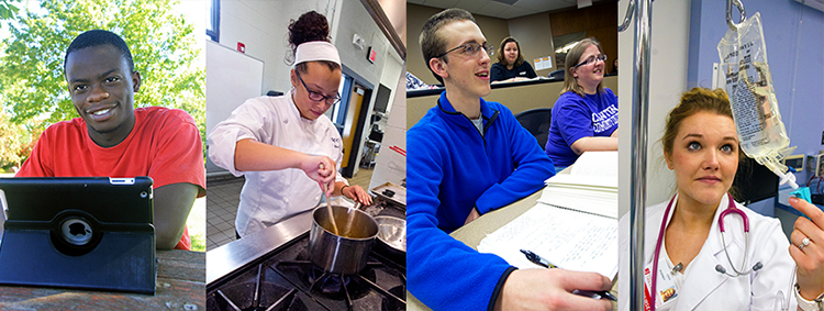 EICC students, working on iPad, cooking, sitting in class and working as a nurse